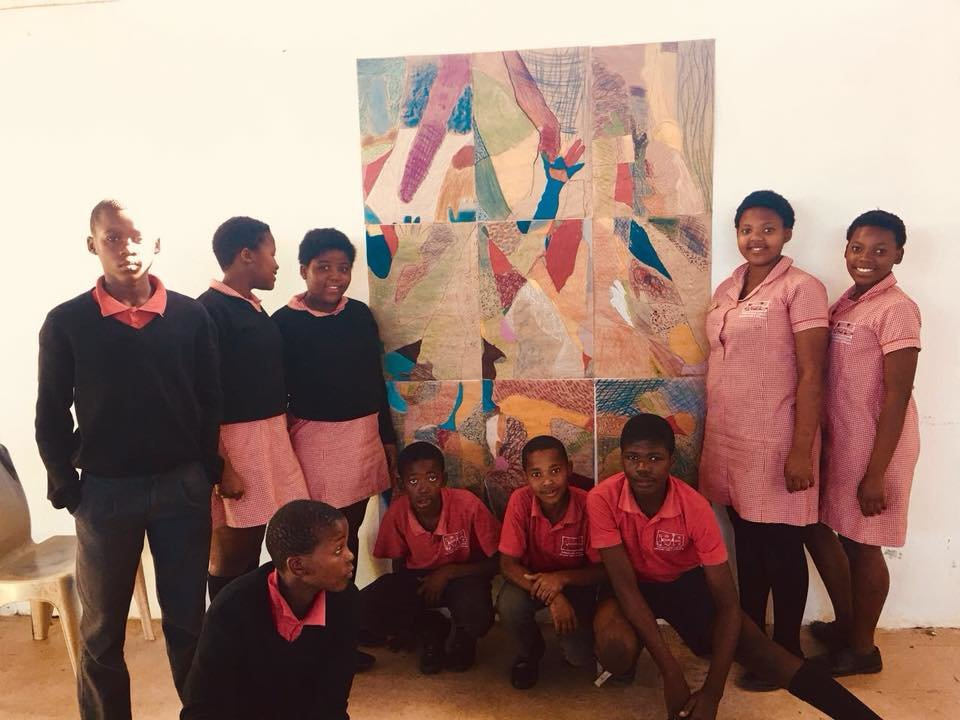 Our grade 7 learners with their wonderful art.