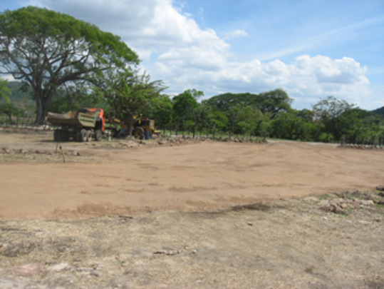 Grading the site for the clinic.