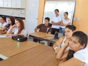 Teens taking a health pregnancy class at CV.