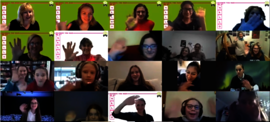 80+ girls wave after our Australian broadcast