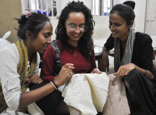 Tulsiben and Taraben teach an embroidery workshop
