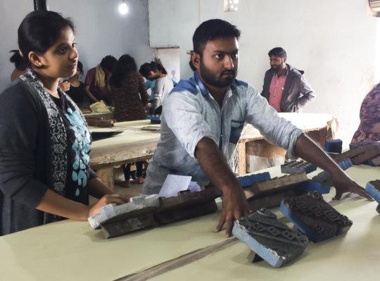 Soyabbhai teaches ajrakh in an SKV workshop
