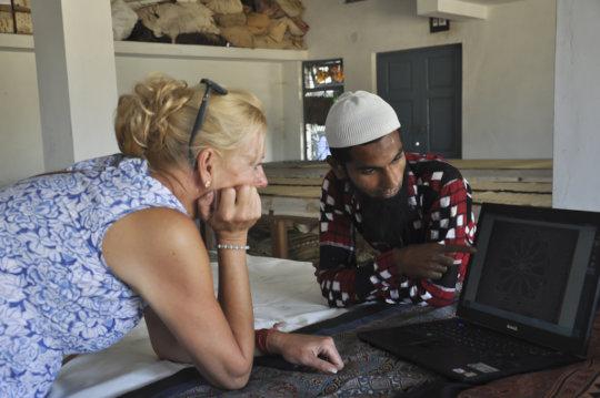 Aakibbhai explains his designs in Open Studio Tour