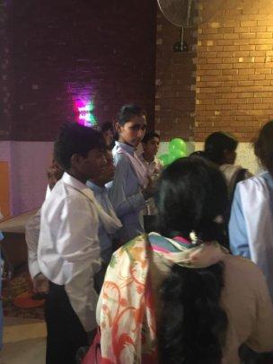 Children registering for the event