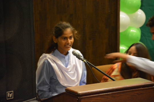 Farzana speaking at International Youth Day event