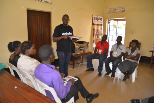 Moses demonstrating a Spelling Bee to teachers