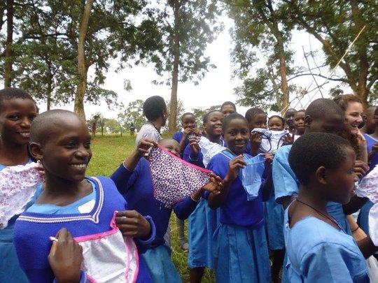 Girls receiving new underwear