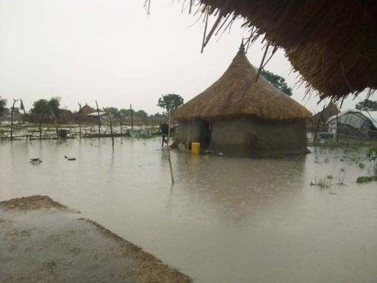 Severe flooding due to climate change.