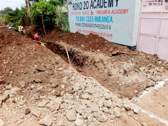 Digging at the school entrance