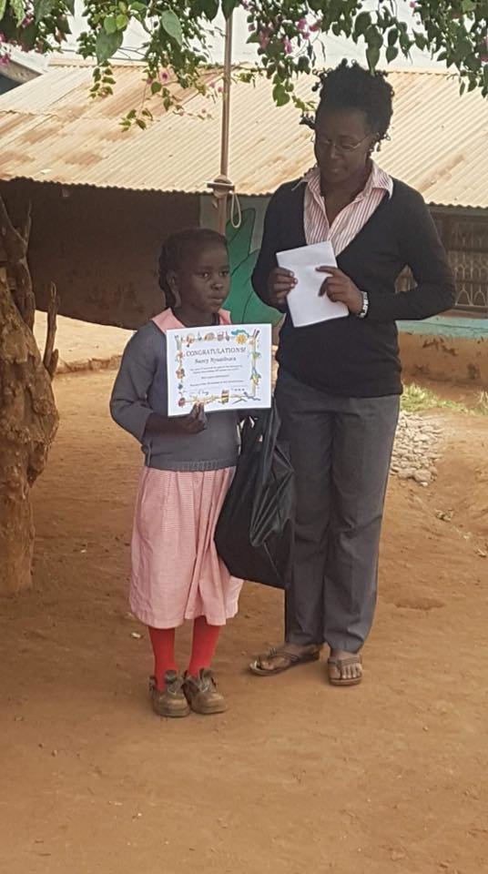 Nancy receiving her award