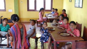 Children in the dinning hall