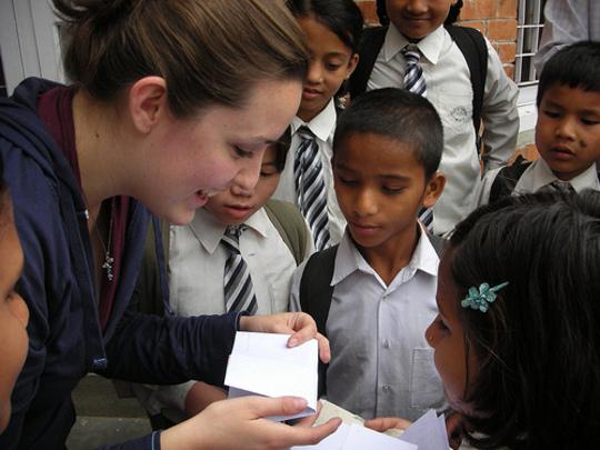 Children saying goodbye as Sarah leaves Nepal