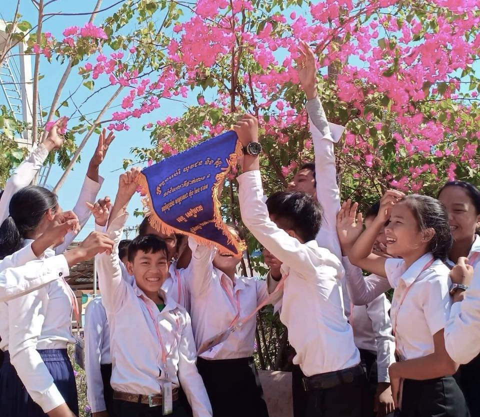 Students at Siem Reap's best school celebrate