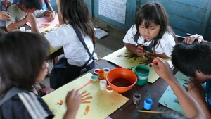 Health education through art at the school.
