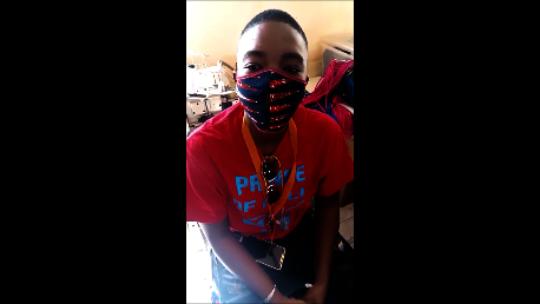 Aissata with a mask
