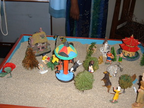 A child's sand play creation