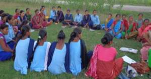 Girls at a monthly support meeting