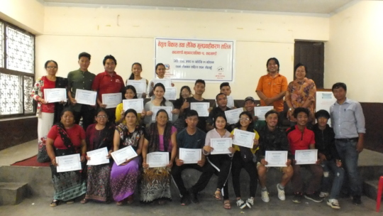 Attendees with their certificate