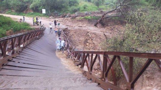 Road bridge destroyed by floods