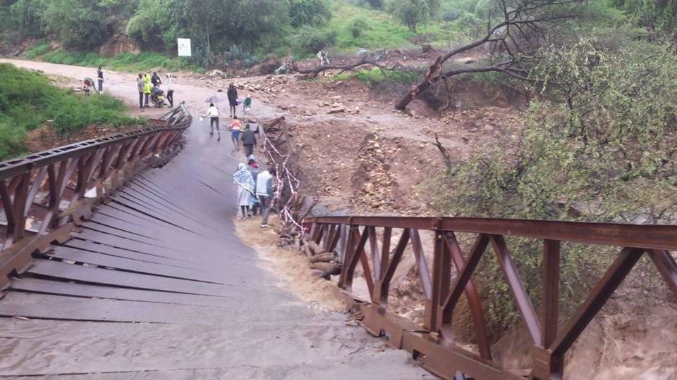 Road bridge destroyed by floods