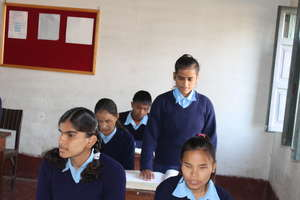 Blind students in a classroom in Nepal