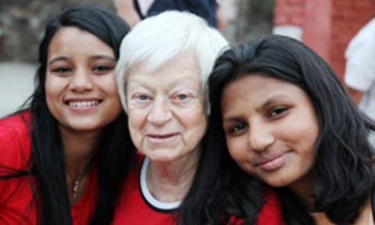 Olga and two girls of K House, NYF's girls' home