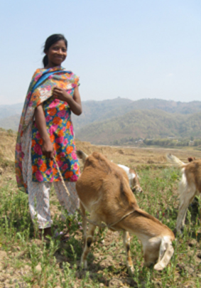 NYOF rescued this girl and gave her family this goat