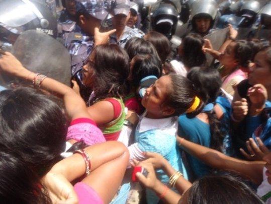 Kamlari girls protesting in Kathmandu