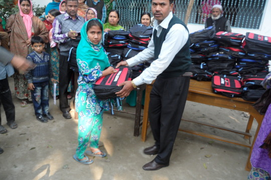 Nupur received  School Bag from our Organization