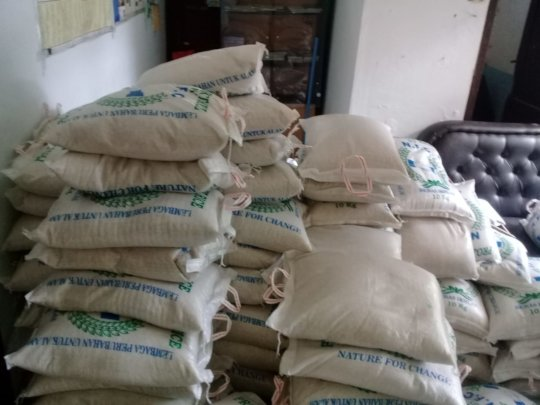 Packages of rice ready for distribution