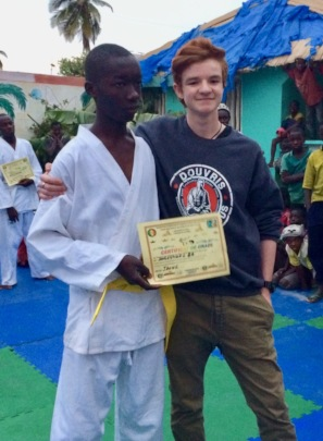 Sulayman receiving his yellow belt in karate