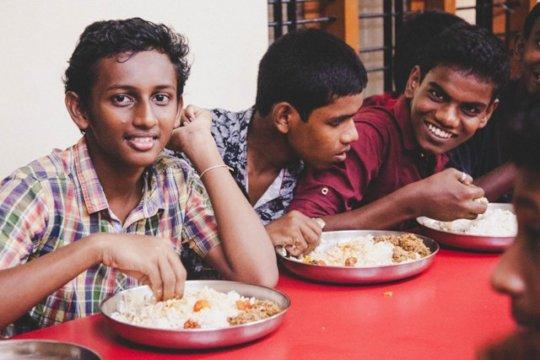Children enjoying the meal