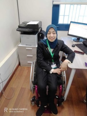 Esraa in her New Office