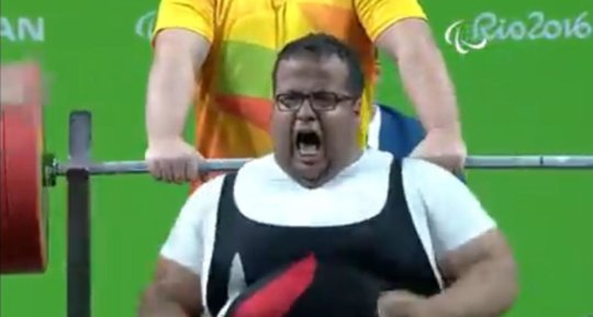 Amr during his participation in the weightlifting