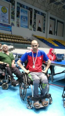 Walid Wearing his Gold Medal