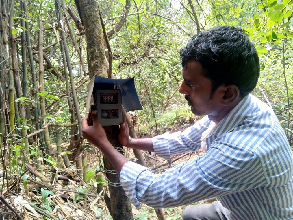 Our Field Officer deploying Camera trap