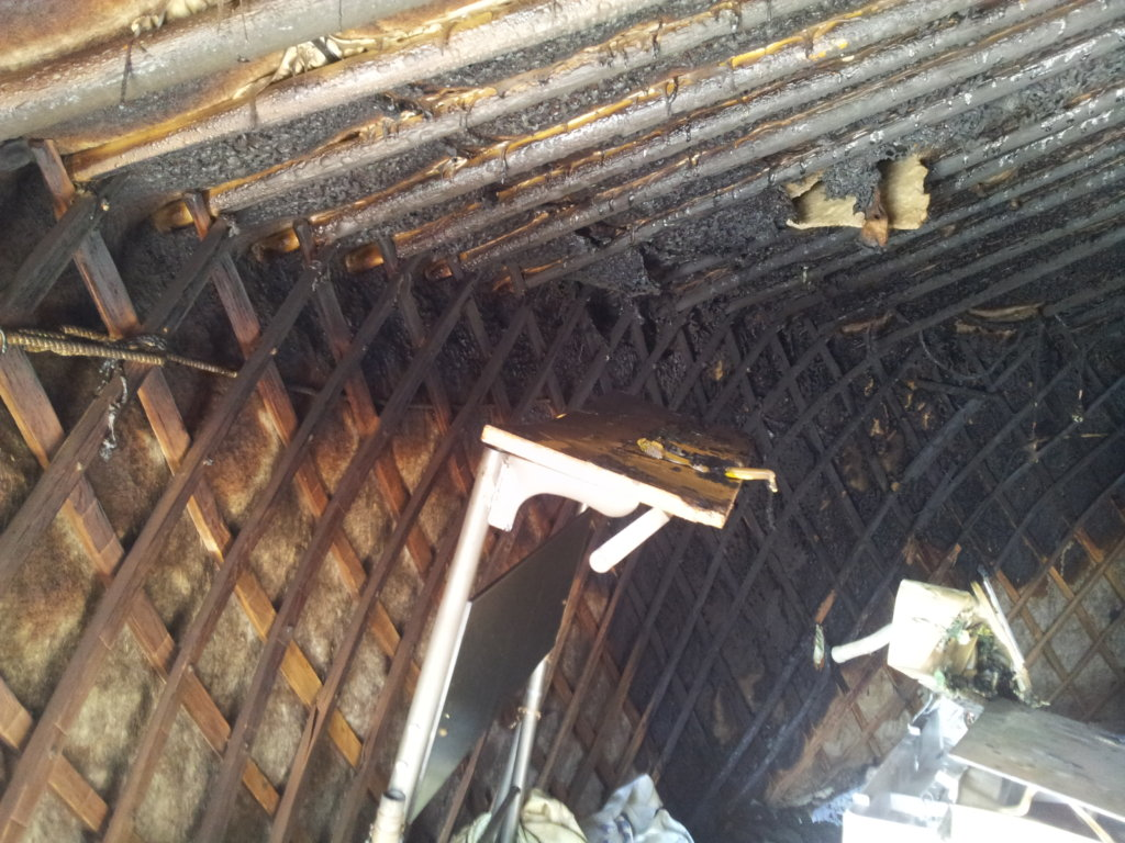 Damaged ger roof