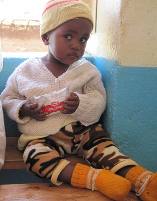 A child being treated with food supplements