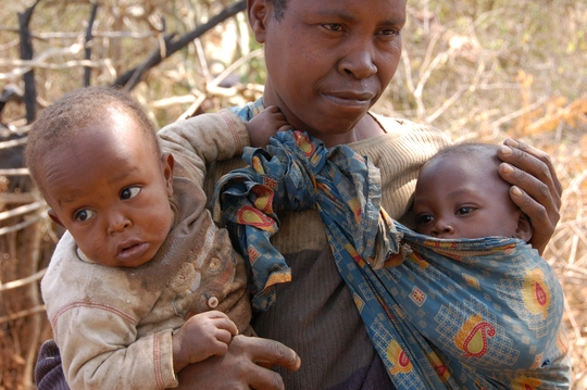 Mother and twins being treated for malnutrition