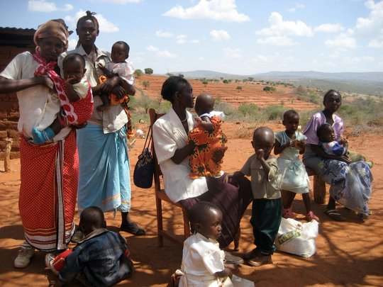 Mothers with children attending outreach clinic