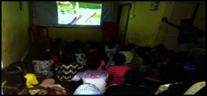 Children watching movie