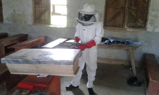 Agriculture teacher models the beekeeping outfit