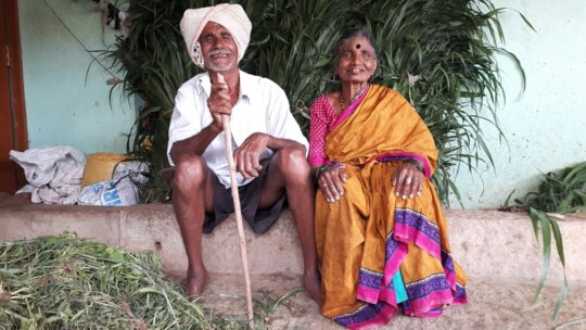 Anjinappa with his wife after the cataract surgery