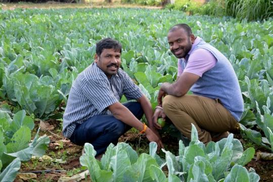 Shivakumar (left) with Nandish, healthcare worker