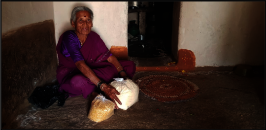 Dry ration distributed to a  community member