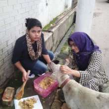 Nely volunteers with the  AUW Animal Welfare Club.