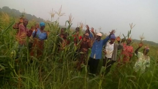 Farmers, happy after harvesting, september 2017