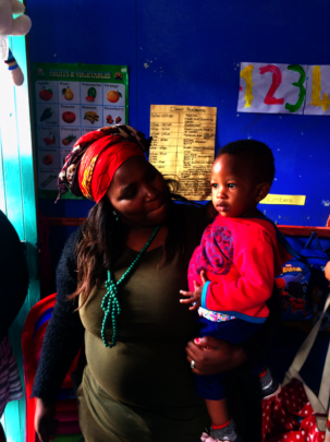 Nomsa and one of the children to attends Blessings
