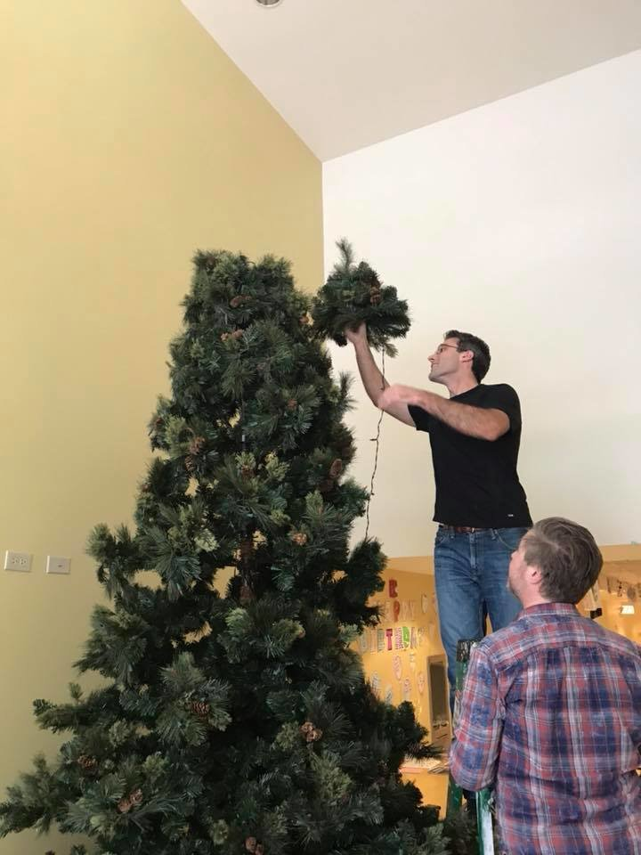 Putting our Christmas tree up for the Holidays!
