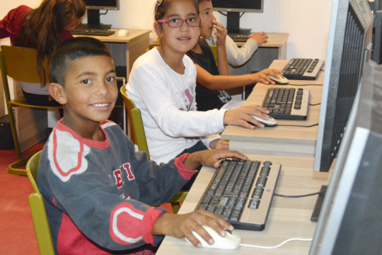 Students using the new computers